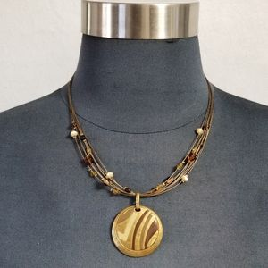 Chico's Vintage Bronze and Enamel Beaded Necklace